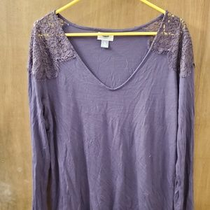 Purple long sleeve top with lace shoulders